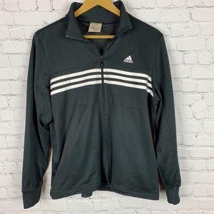 ADIDAS Black/White Zip Up Track Jacket Large